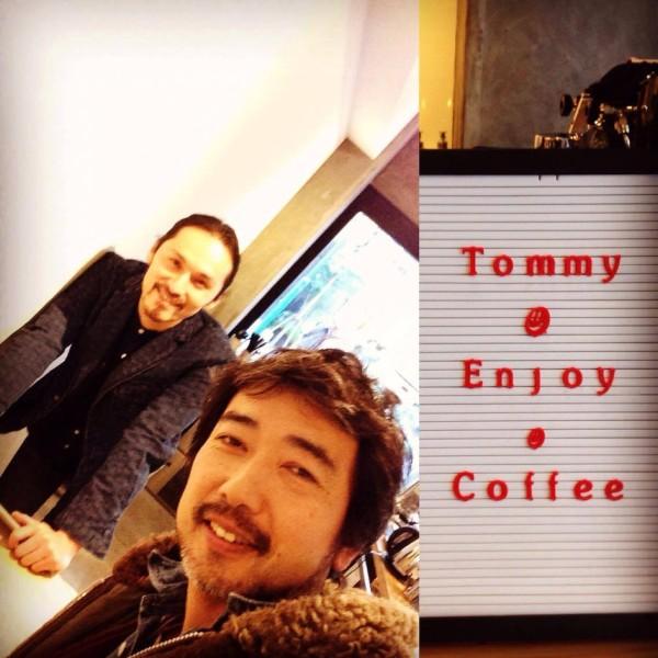 Tommy enjoy coffee